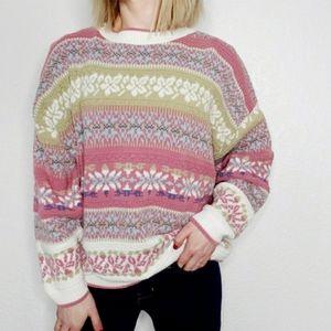 80-90s Vintage Fair Isle Striped Grandma Sweater